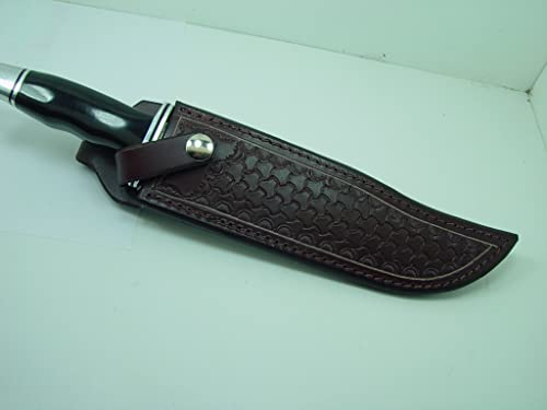A Custom Brown Leather Knife Sheath That Will Fit a Buck 120. Tooled with Basket Weave. Knife Not for Sale