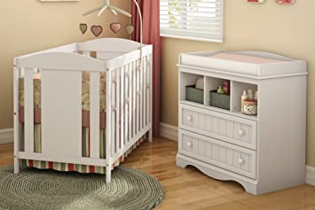 South Shore Furniture Savannah Crib And Changing Table Set, Pure White