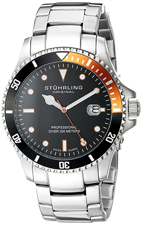 Stuhrling Original Aquadiver Analog Black Dial Men's Watch - 8326B.331157 Men's Watches at amazon