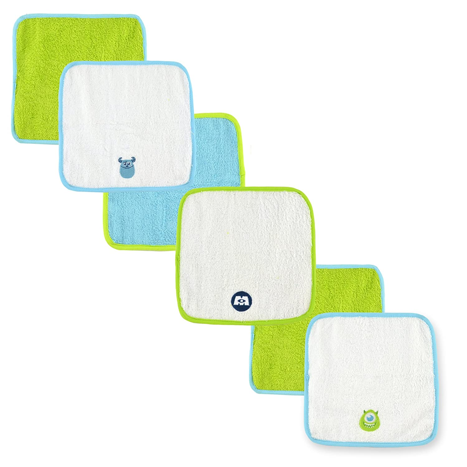 Disney Baby Washcloth Set, Blue/Lime Green Monsters (6 Pack) 53191R