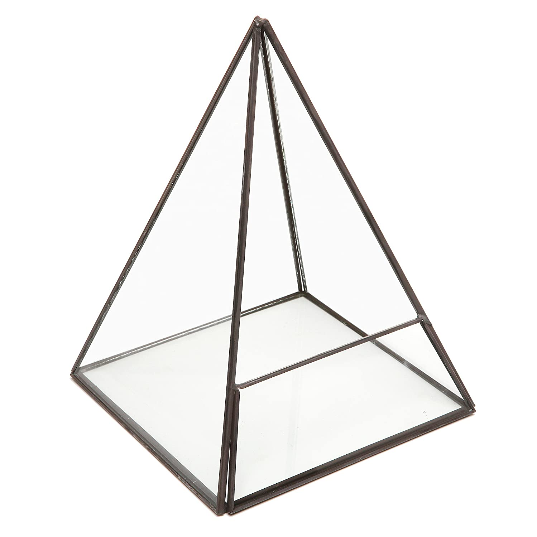 Modern Glass Pyramid Tabletop Succulent Plant Terrarium Box//Air Plant /& Cacti Holder Case MyGift