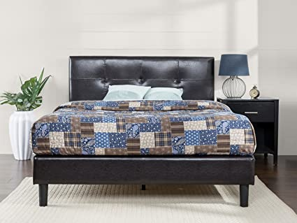 f32dcf491fbb Zinus Kitch Faux Leather Detail-Stitched Platform Bed with Wooden Slat  Support, Queen