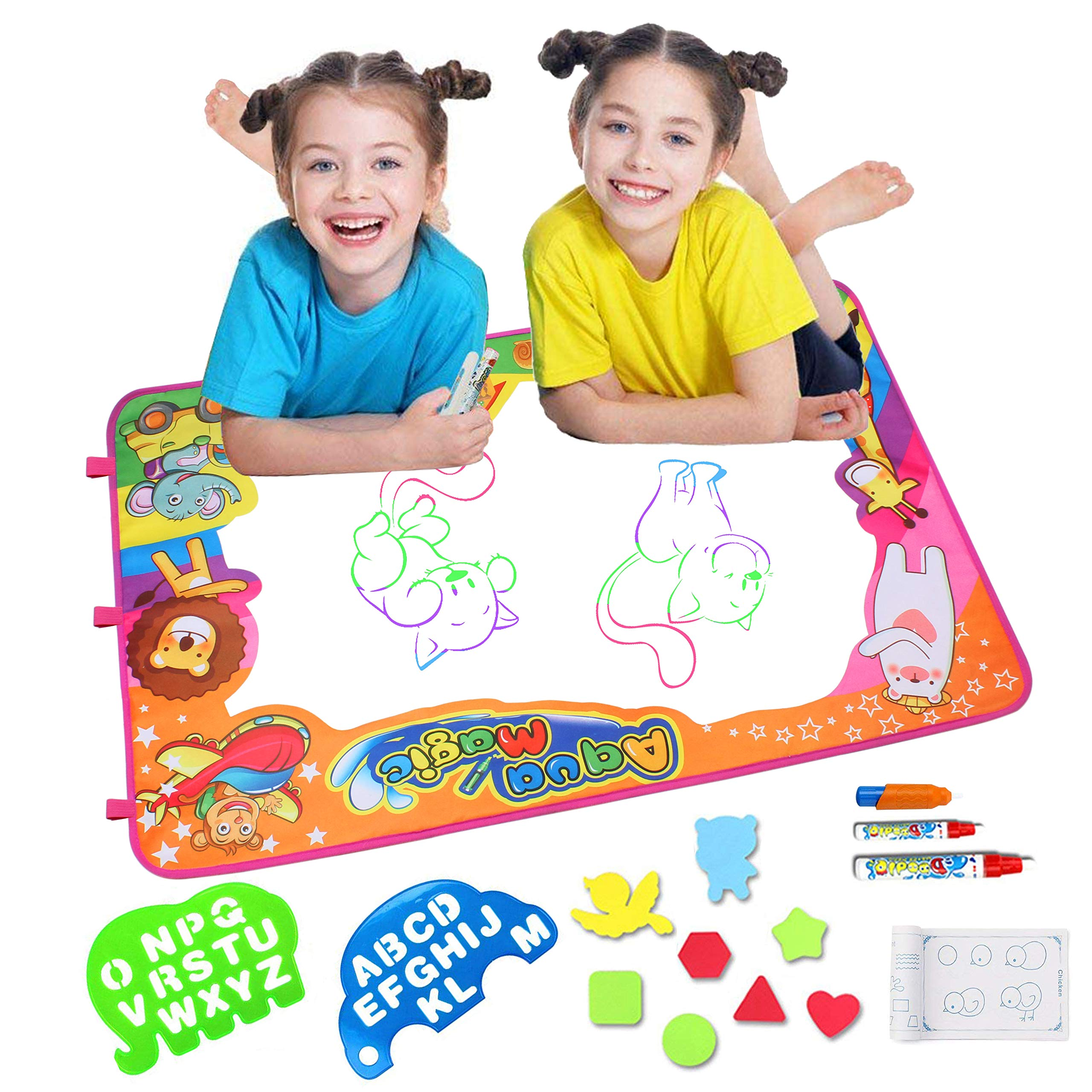 Alpacasso Water Doodle Mat, Children Toys Aqua Magic Water Drawing Mats Toddler Educational Toys with Large Size 34.5'' X 22.5'' Coloring Mat with 3 Pens for Boys Girls Toddlers Age 2 3 4 5+ (Animal)
