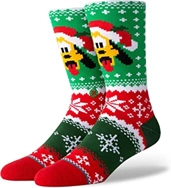 Stance Men's Disney Christmas Crew Sock, pluto Claus, SMALL
