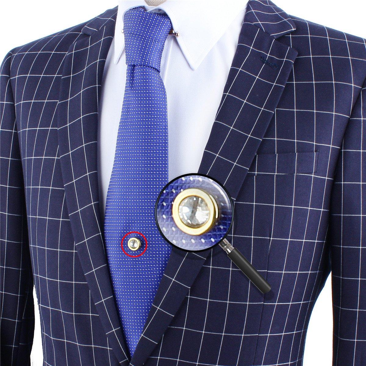 HAWSON Mens Tie Tack with Chain Round Crystal Wedding Business Accessories 20216
