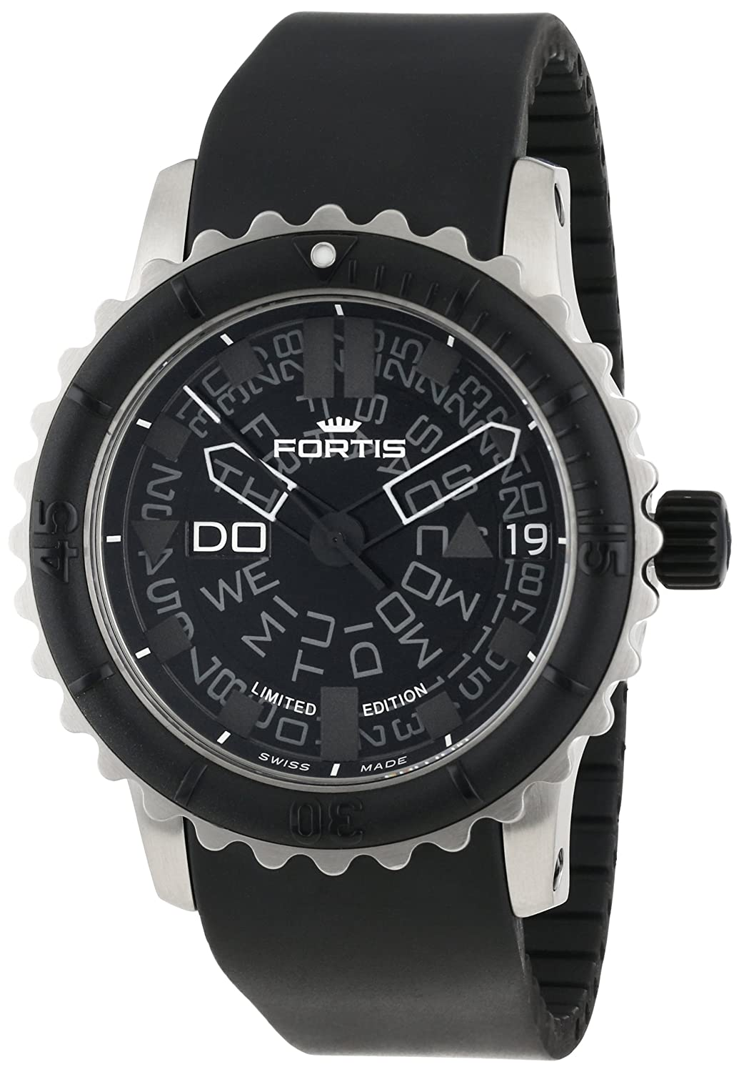 Fortis Men s 675.10.81 K B-47 Big Black Automatic Rotating Bezel Rubber Watch