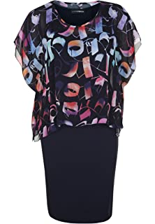 Doris Streich Damen Jerseykleid mit Blumen-Überwurf Weite Ärmel ... ce4b7d1975