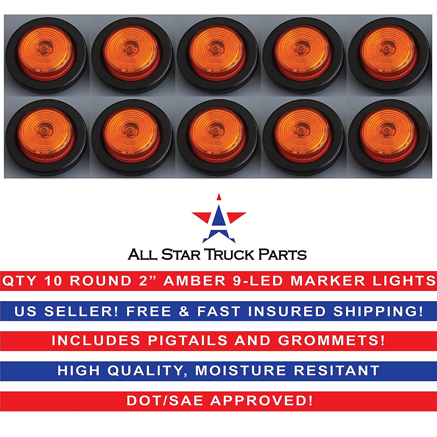 2 Round Amber 9 LED Light Trailer Side Marker Clearance Grommet Plug Qty 10 All Star Truck Parts
