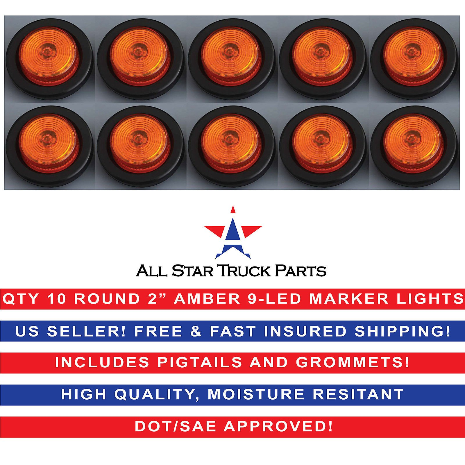 2'' Round Amber 9 LED Light Trailer Side Marker Clearance Grommet + Plug Qty 10 by All Star Truck Parts