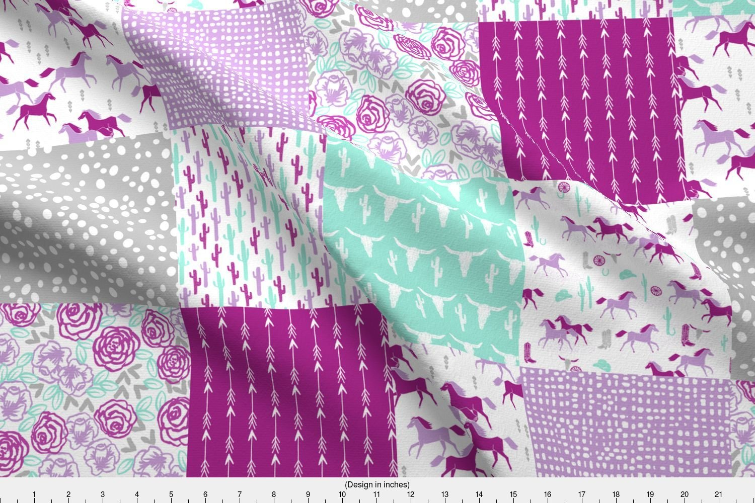Spoonflower cheater quilt fabric horses quilt purple grey and mint cheater quilt wholecloth baby nursery quilts girls decor by andrea lauren printed on