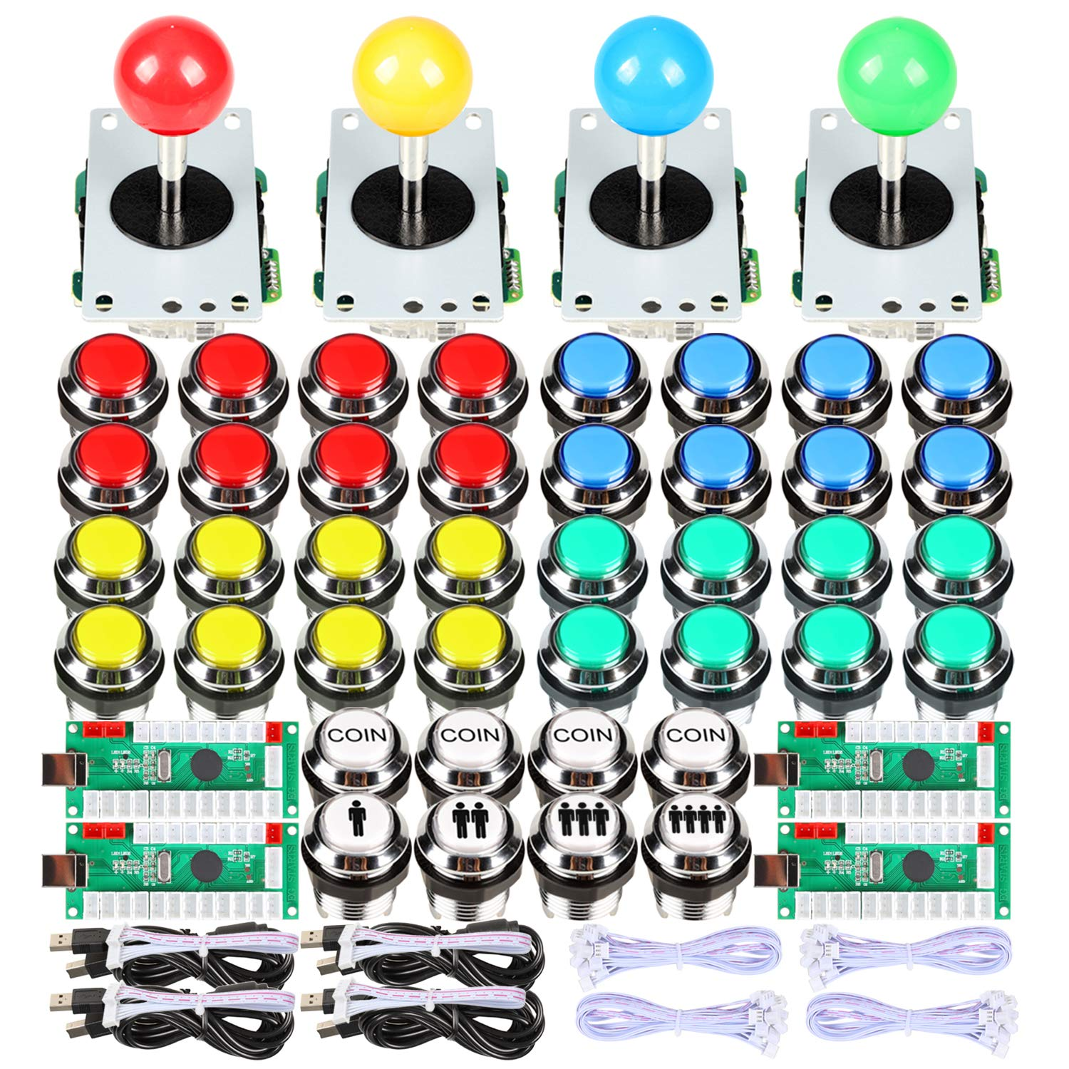 Set De 4 Joystick Arcade Mame Raspberry Pi / Usb Pc