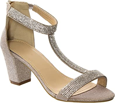 Womens Flat Sandals Slingback Diamante Ladies Sparkly Diamante Summer Shoes 3-8