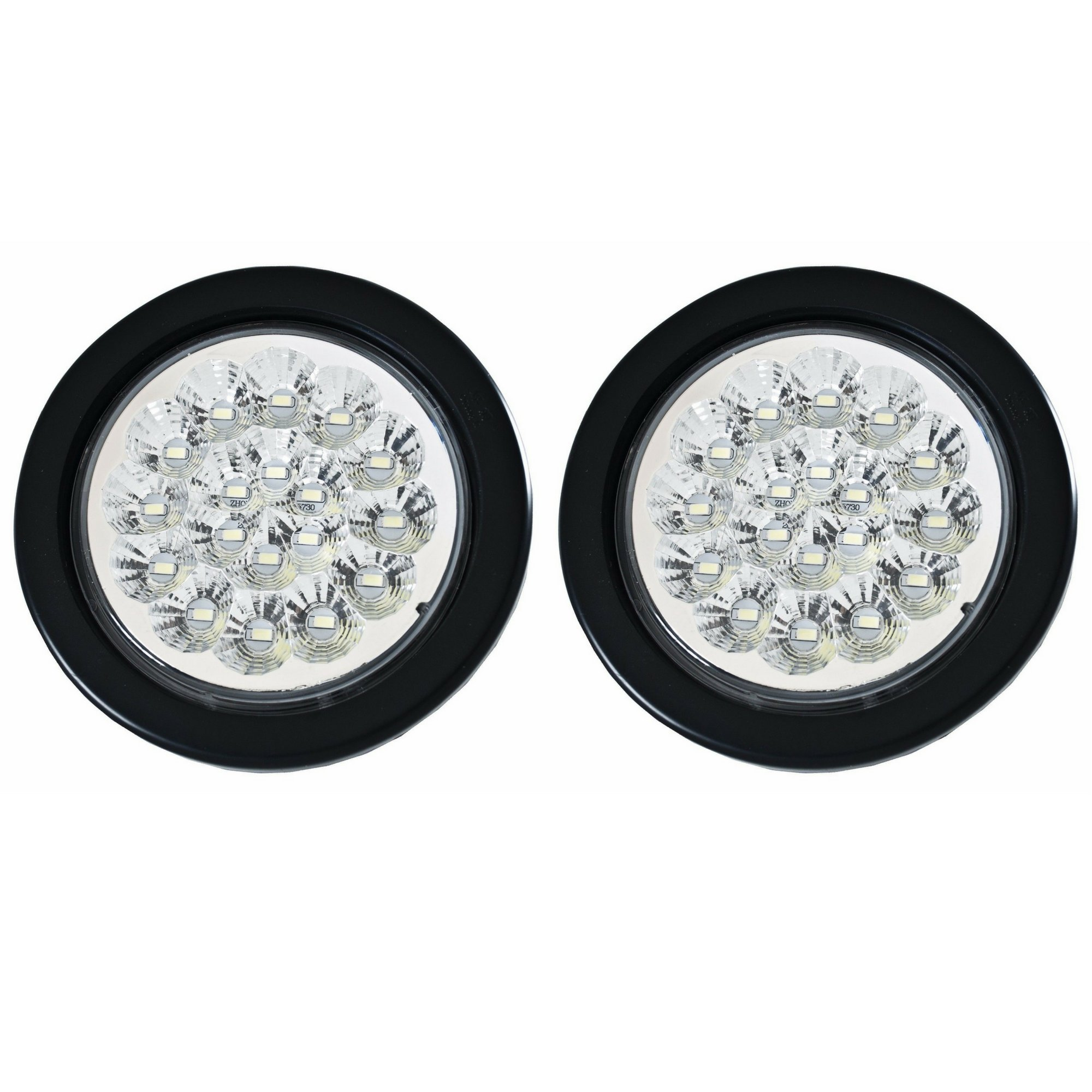 Qty 2-4'' ROUND 18 LED WHITE BACKUP/REVERSE TAIL LIGHTS WITH GROMMET AND 3 WIRES