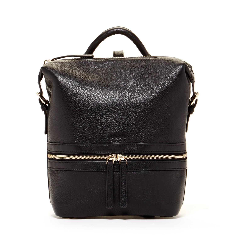 SUSU Black Leather Backpack Purse Unique Style Handbag Designer Backpacks Pebble Genuine Leather Stylish Purses For Women's Travel Handbags Small or Medium Size It Bag With Zipper Closure