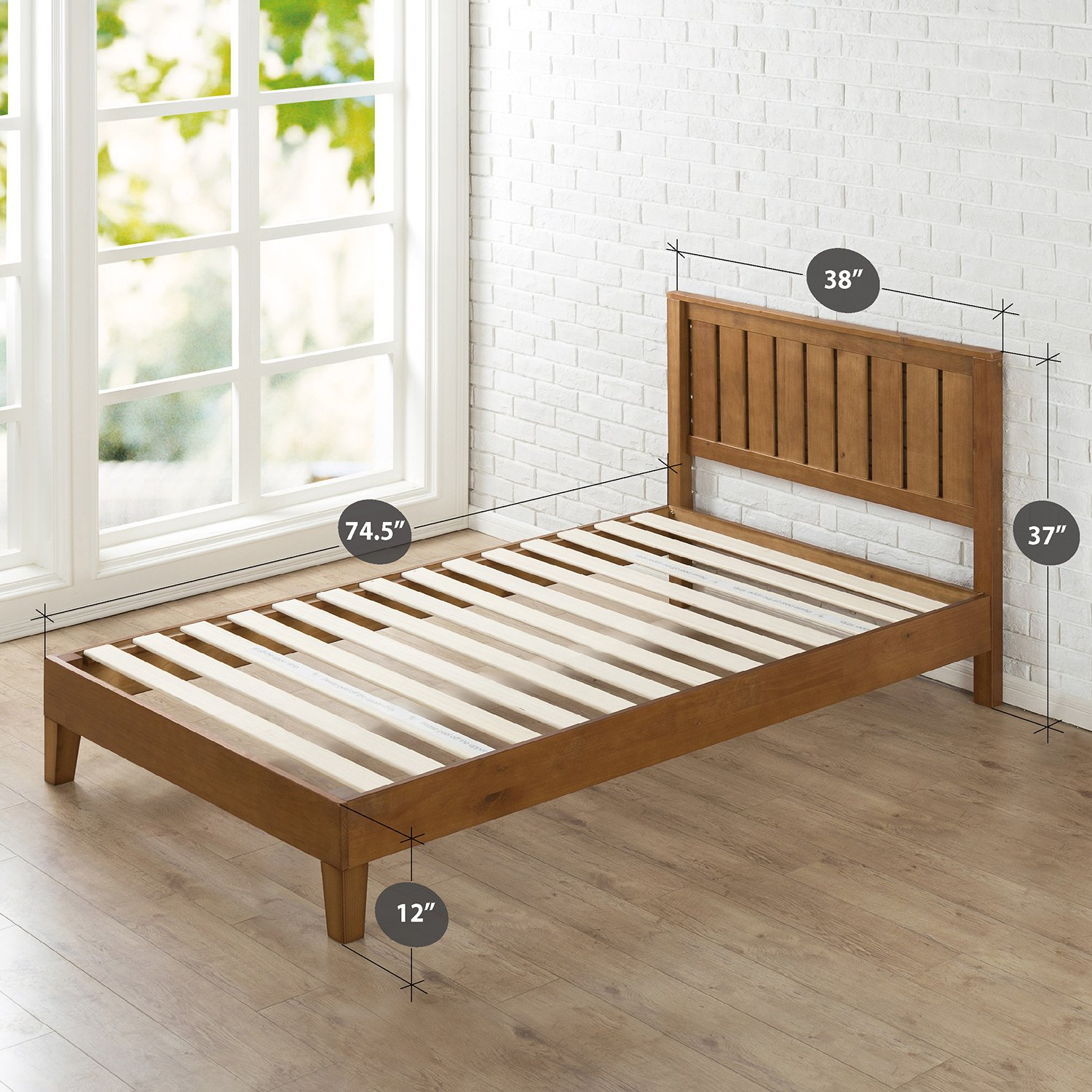 Zinus 12 Inch Deluxe Wood Platform Bed with Headboard / No Box Spring Needed / Wood Slat Support / Rustic Pine Finish, Twin by Zinus (Image #2)