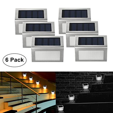 WEBSUN Solar Step Lights, 3 LED Solar Powered Stair Lights Outdoor Lighting  For Steps Paths