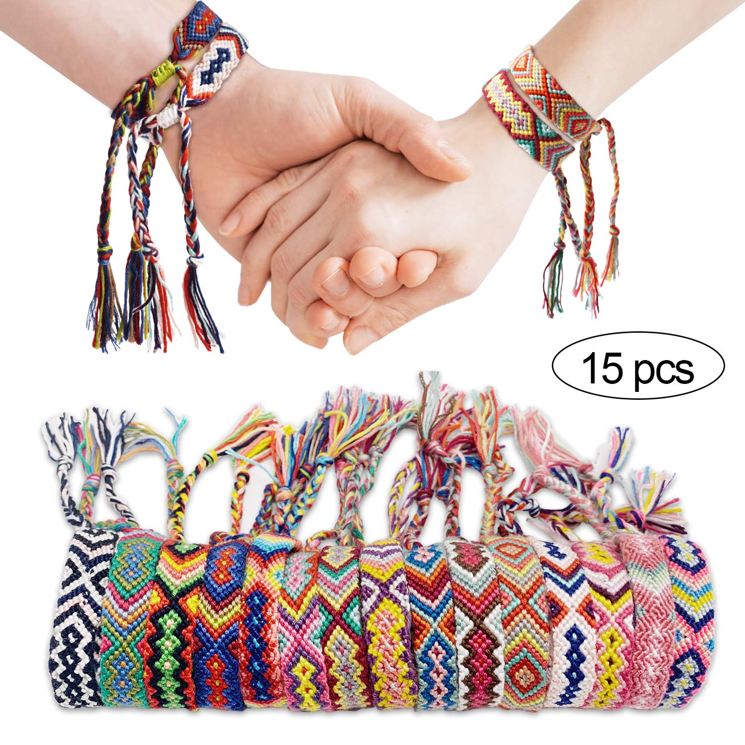 SYOSIN Nepal Friendship Bracelets, Colored Braided Bracelets, Play Bracelets with a Adjustable Size Sliding Knot Closure for Couples, Children, Women and Men, as Bracelet, Anklet (Pack of 15) by SYOSIN-HL