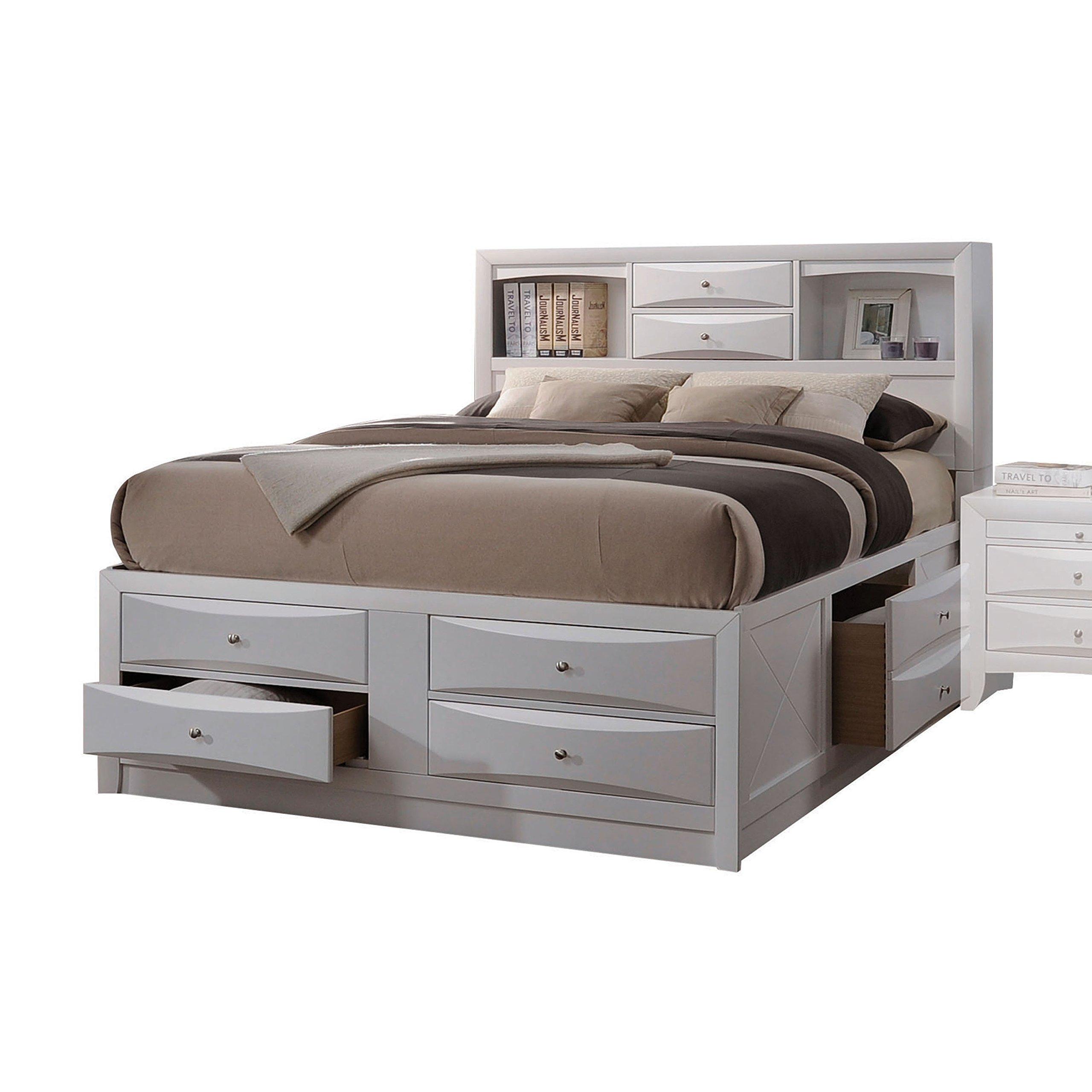 Acme Furniture Ireland 21696EK Eastern King Bed with Storage, White