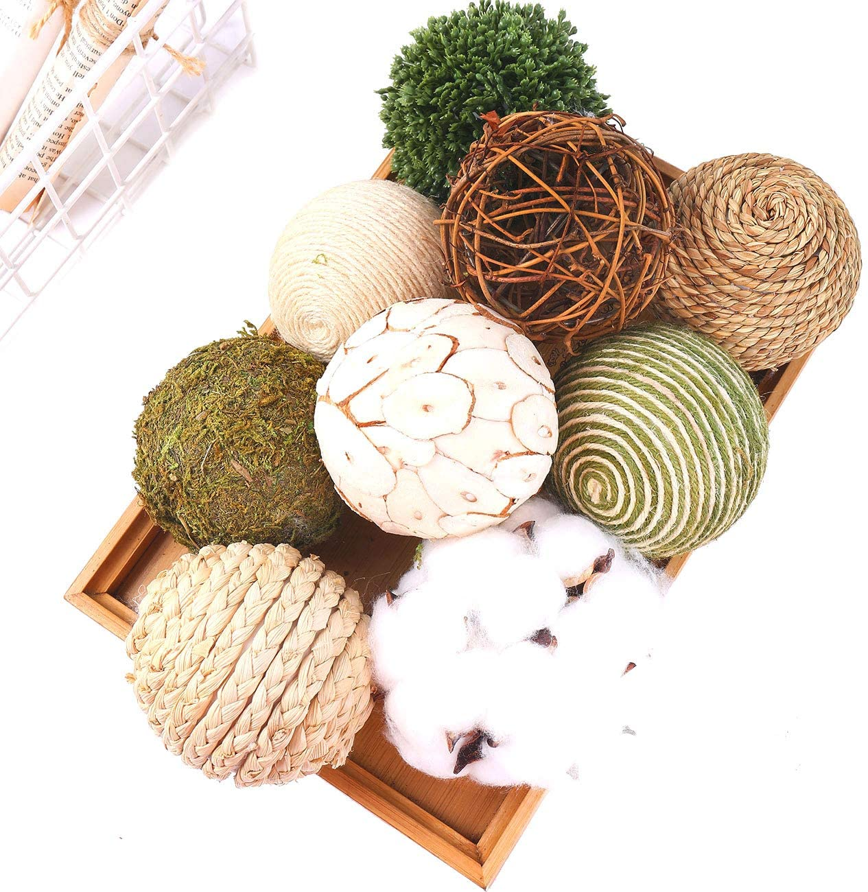 Ciroases 9pcs 3.5Inch Fall Decorative Ball Orb Rattan Ball Rattan Woven Orbs Spherical Bowl and Vase Filler for Home Party Wedding Display Decor Props … (Green)