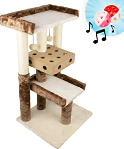 Downtown Pet Supply Interactive Tall 3-Level Cat Activity Tree with Ball Box Puzzle Toy and Sisal Scratching Posts