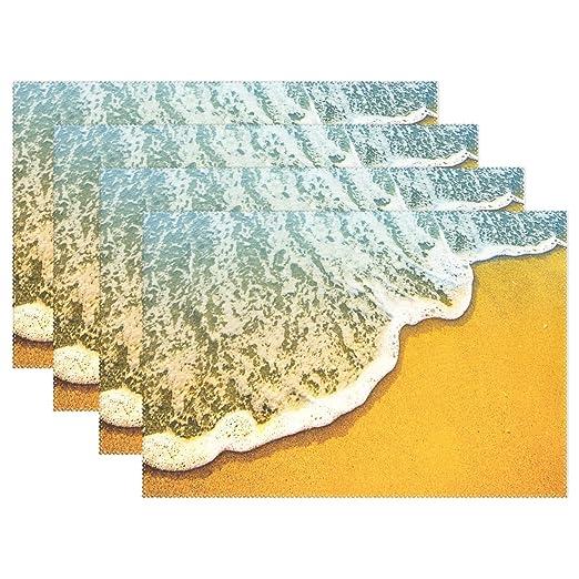 Playa de arena azul Mar antideslizante manteles individuales para ...