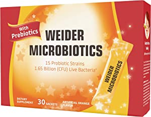 """New! Weider Advanced Probiotics, 15 Strains of Unique Probiotics for Men, Women, and Children Ages 4+, Gut Health, Promotes Digestive, Immune Support, 30 Pre-Portioned """"to go"""" Packets"""