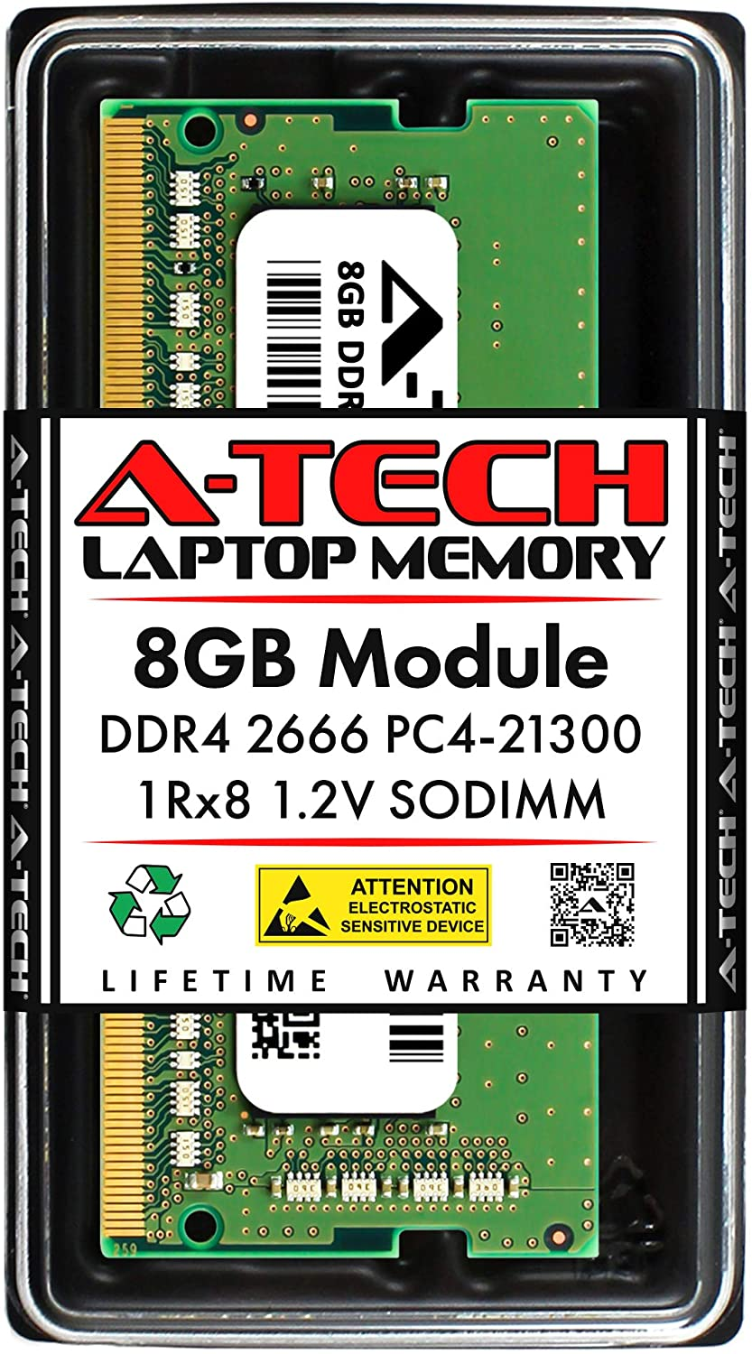 A-Tech 8GB DDR4 2666MHz SODIMM PC4-21300 1Rx8 Single Rank 260-Pin CL19 1.2V Non-ECC Unbuffered Notebook Laptop RAM Memory Upgrade Module