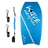 Own the Wave 41 Inch Body Board for Adults and Kids - HDPE Slick Bottom & EPS Core - Light Weight Bodyboard Perfect for Surfing - Comes with Coiled Leash and Swim Fin Tethers