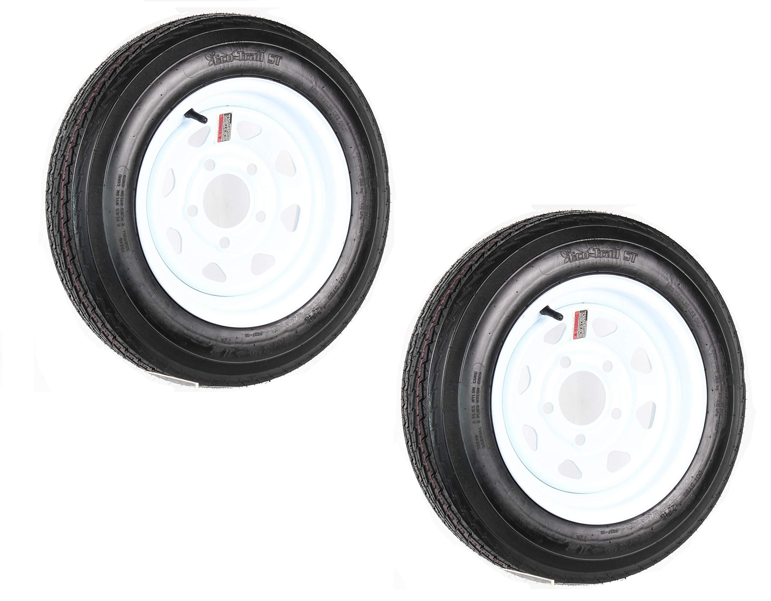 eCustomRim Two Trailer Tires On Rims 4.80-12 480-12 4.80 X 12 LRB 5Lug Wheel White Spoke
