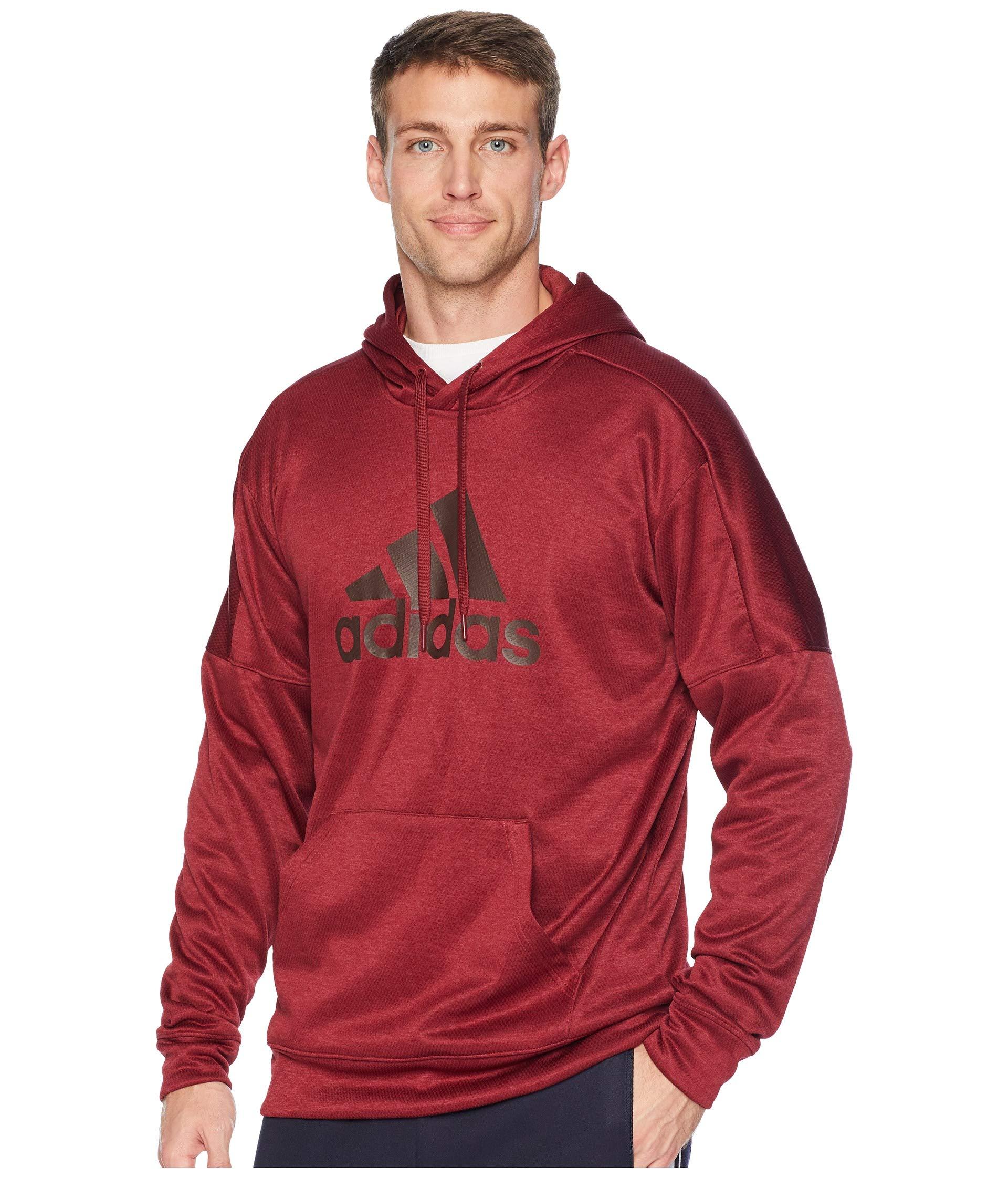 adidas Men's Athletics Team Issue Full-Zip Fleece Hoodie, Noble Maroon Melange, XX-Large by adidas