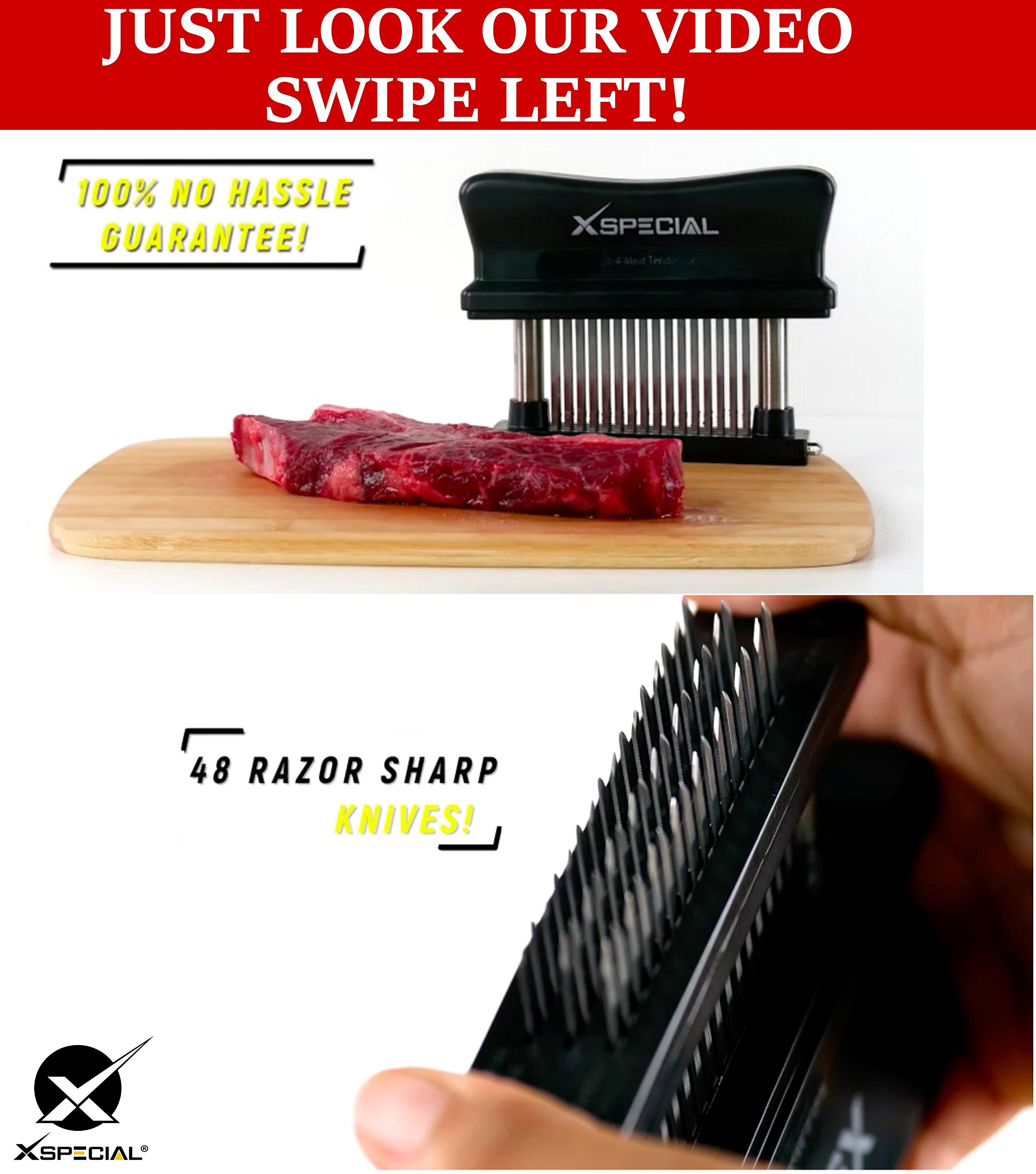 XSpecial Meat Tenderizer Tool - TRY IT NOW,Taste The Tenderness or REFUNDED > Kitchen Gadget Tenderizers 48 Blades Stainless Steel Needle = Best For Tenderizing,BBQ,Marinade & Flavor Maximizer by XSpecial (Image #2)