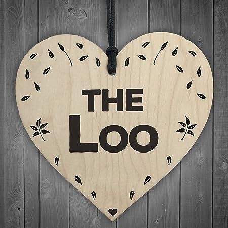 Red Ocean The Loo Wooden Hanging Heart Plaque Toilet Door Shabby Chic Bathroom  Sign Gift