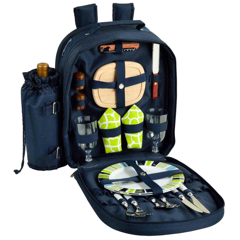 Picnic at Ascot – Deluxe dotato 2 persona picnic zaino con Cooler & contenitore termico per vino – traliccio verde