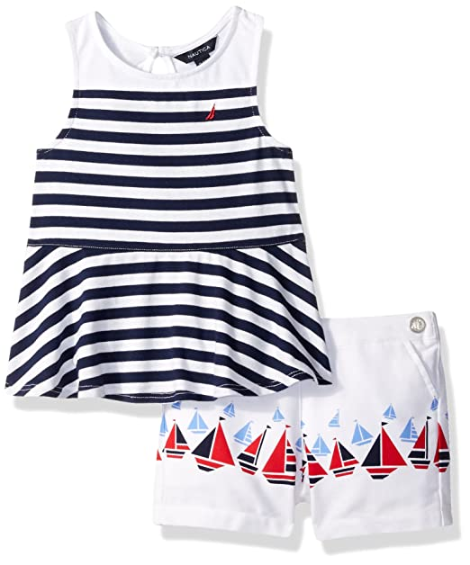 82f30ea04 Amazon.com: Nautica Baby Girls' Sleeveless Knit Top with Woven Short Set,  Red 12 Months: Clothing