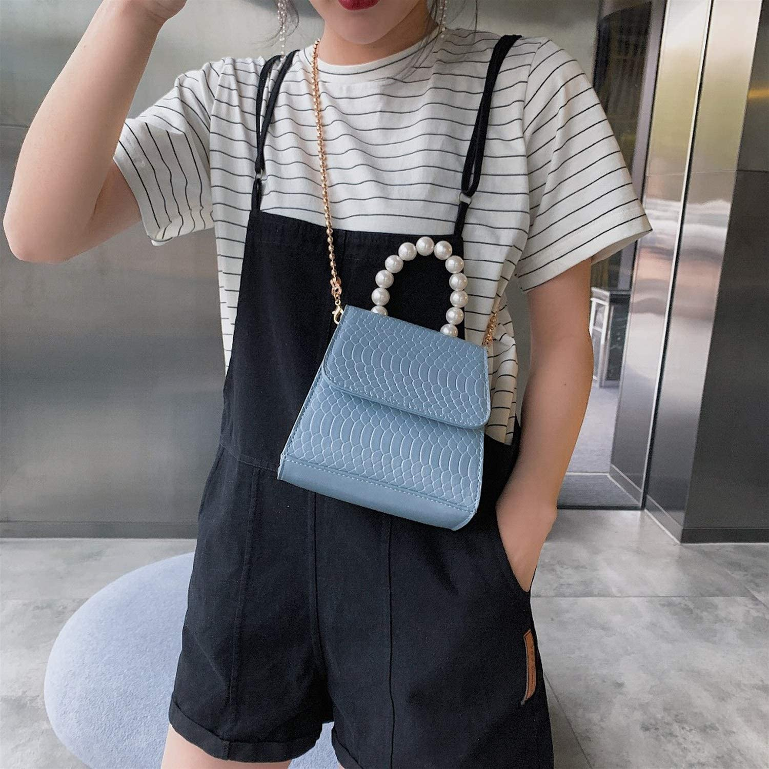 Crocodile Pattern Pu Leather Crossbody Bags For Women 2019 Totes With Pearl Handle Mini Chain Shoulder Messenger Bag Purses