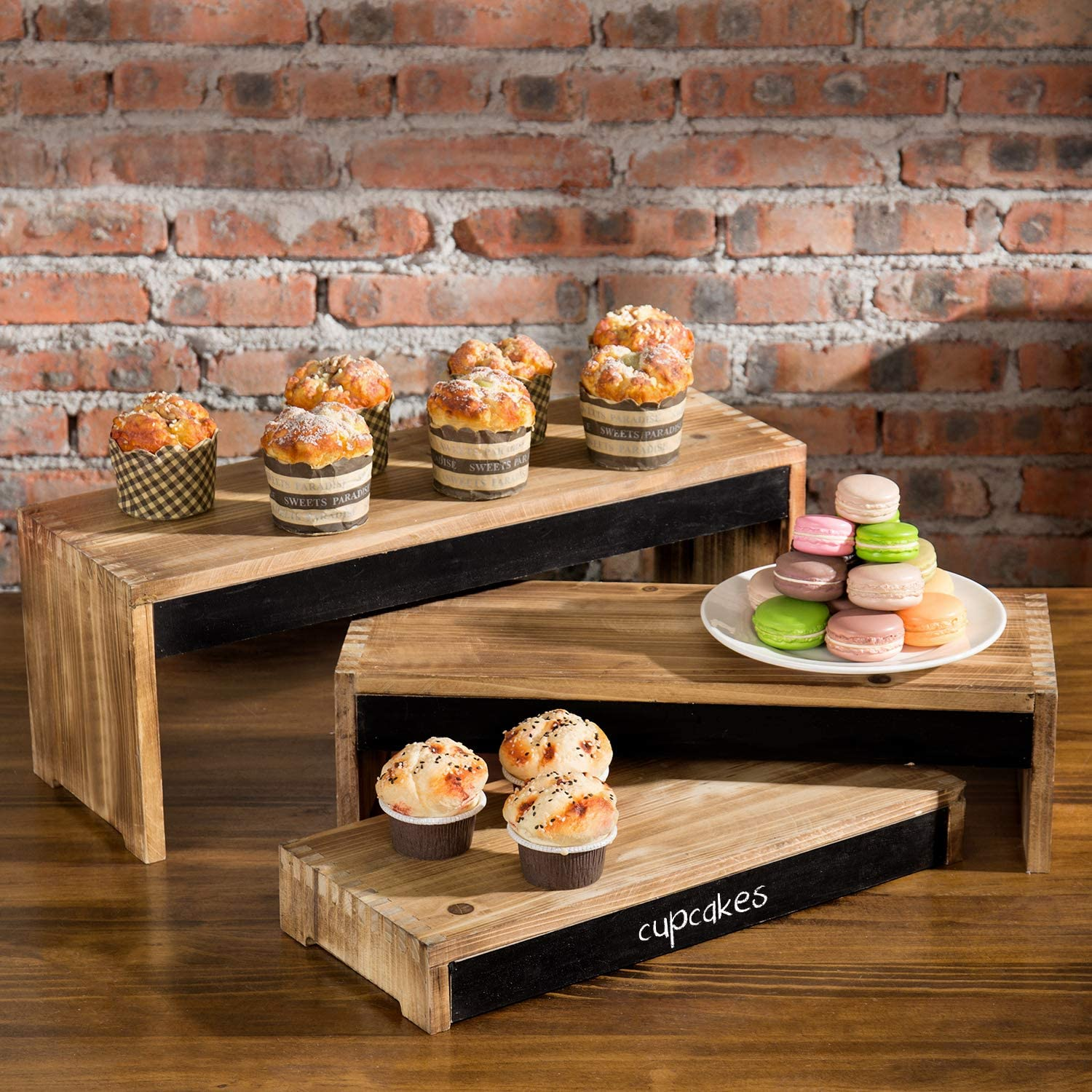 MyGift 3-Tier Rustic Burnt Dark Brown Wood Cake/Dessert Display Riser Stands with Chalkboard Panels