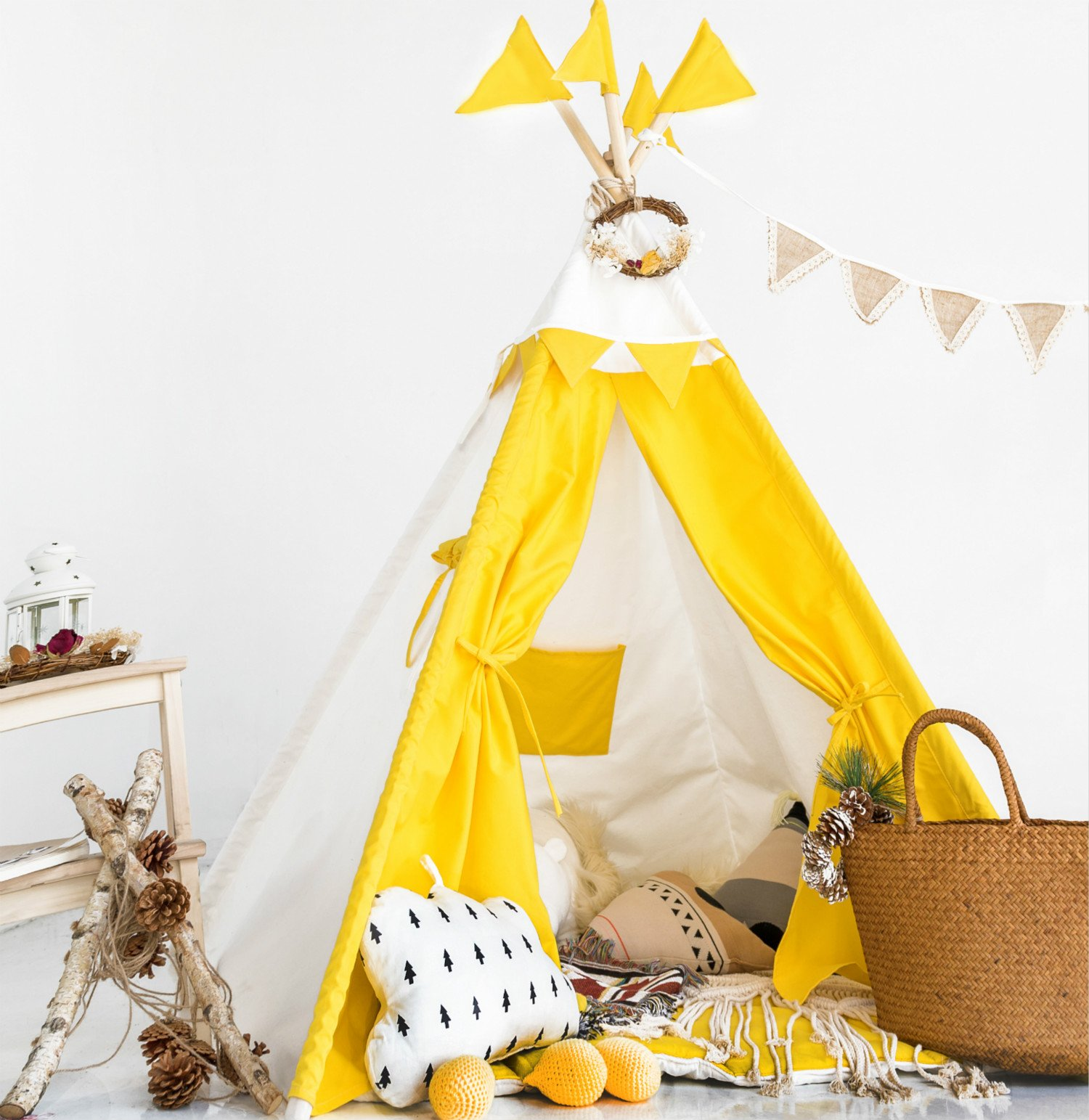 HAN-MM Kids Teepee Tent Set With Mat - 4 Wooden Poles Indian Playhouse for Children for Indoor or Outdoor Play. Durable Cotton Canvas Fabric.No Trouble to Choose Another Mat.Yellow Splice by HAN-MM