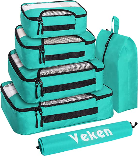 Veken 6 Set Packing Cubes, Travel Luggage Organizers with Laundry Bag & Shoe Bag (Teal)
