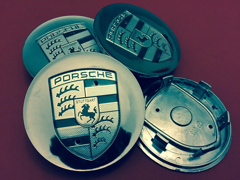 4x Porsche Chrome Wheel Center Cap Boxster Cayenne 911 993 996 997 HUB Racing