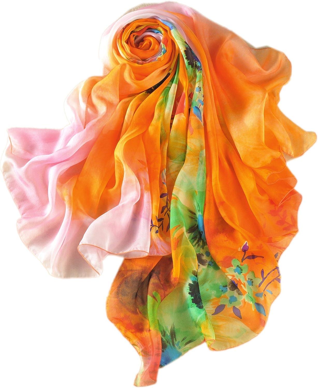 Foulard /Écharpe Femme 100/% Soie XXL Oversize /Ét/é Imprim/é /À fleurs /À fleurs Fleuri 200cm X 135cm Prettystern
