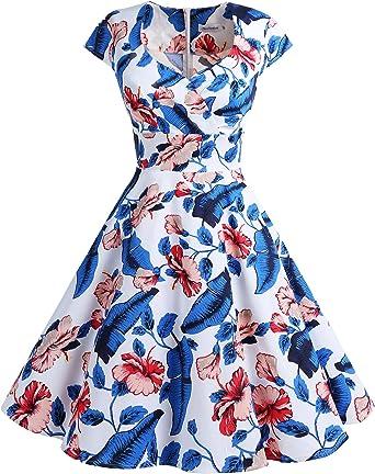 TALLA L. Bbonlinedress Vestido Corto Mujer Retro Años 50 Vintage Escote Royalblue Flower L