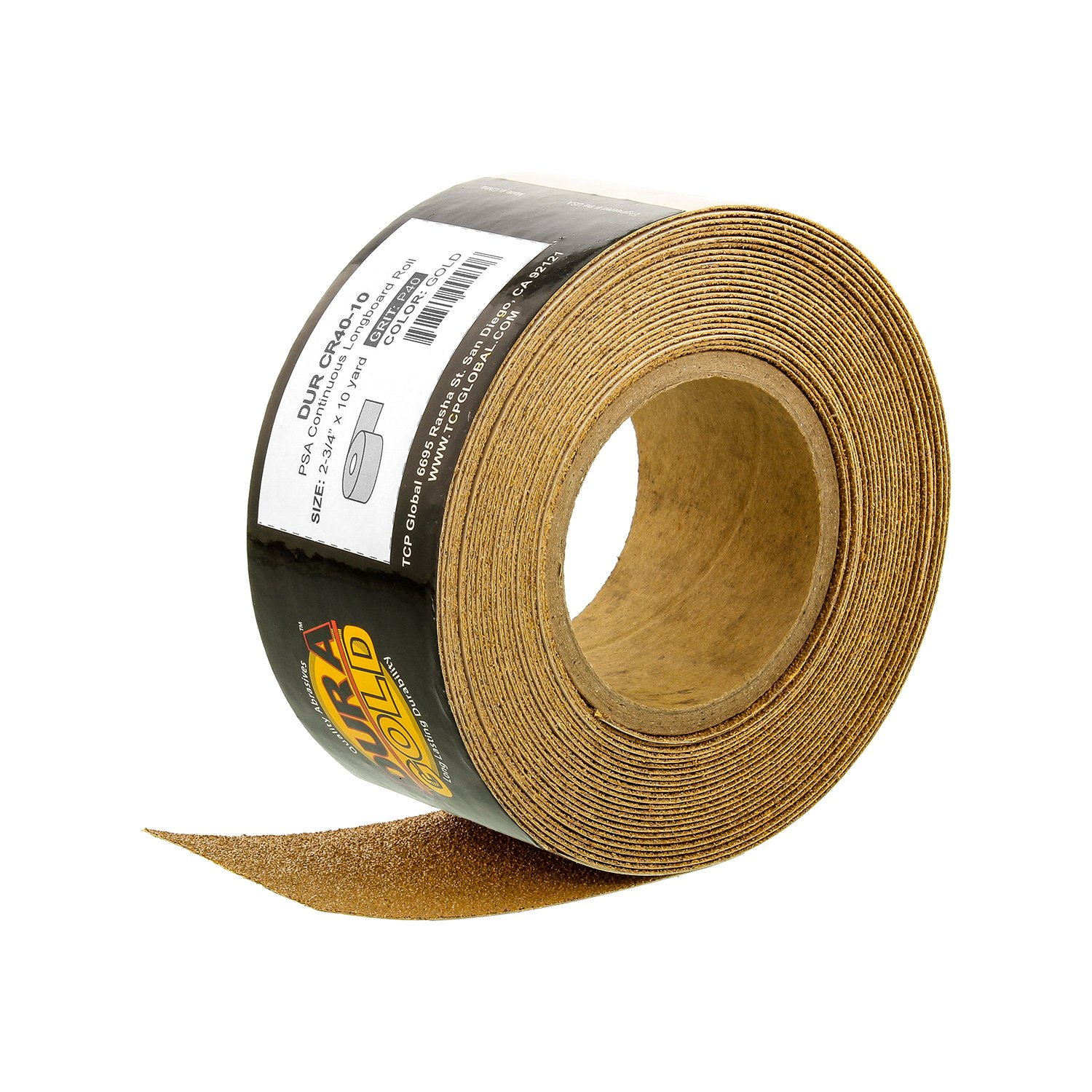 Dura-Gold - Premium - 40 Grit Gold - Longboard Continuous Roll 10 Yards long by 2-3/4'' wide PSA Self Adhesive Stickyback Longboard Sandpaper for Automotive and Woodworking