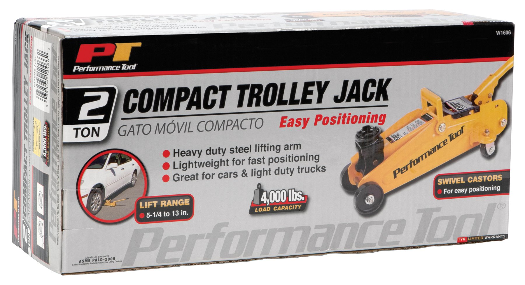 Performance Tool W1606 2 Ton (4,000 lbs.) Capacity Compact Trolley Jack by Performance Tool (Image #3)