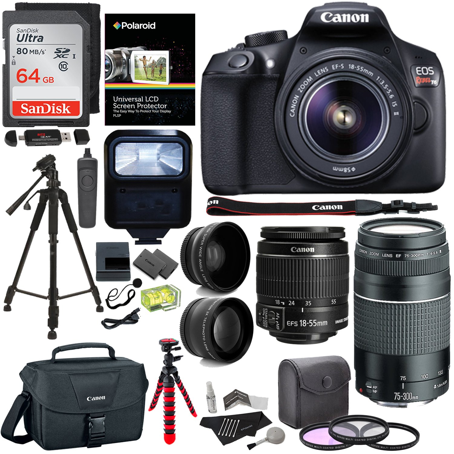 Canon EOS Rebel T6 DSLR Camera Kit, EF-S 18-55mm IS II Lens, EF 75-300mm III Lens, Polaroid Wide Angle, Telephoto Lens, 64GB and Accessory Bundle by Ritz Camera