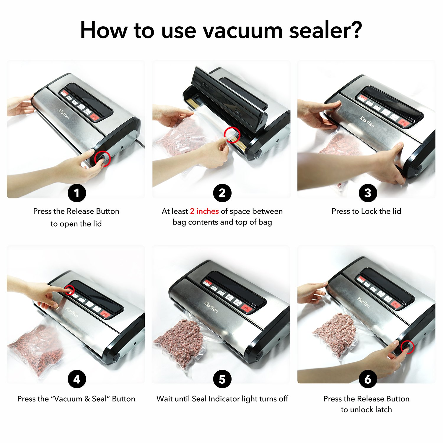 Kiartten Vacuum Sealer, A Fresh Food Locker for Your Kitchen. Keeps Food Fresh Up To 5X Longer. (Stainless Steel) by Spreaze (Image #4)