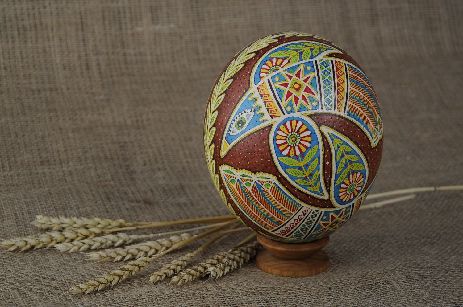 Painted Handmade Easter Egg ''Dance of Love'' Holiday Decoration