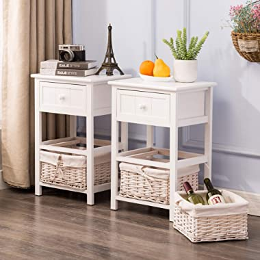 Mecor Set of 2 Nightstand White - 3-Drawer - Paulownia Wood - End Side Tables - Fully Assembled - for Bedroom,Bathroom,Makeup Storage
