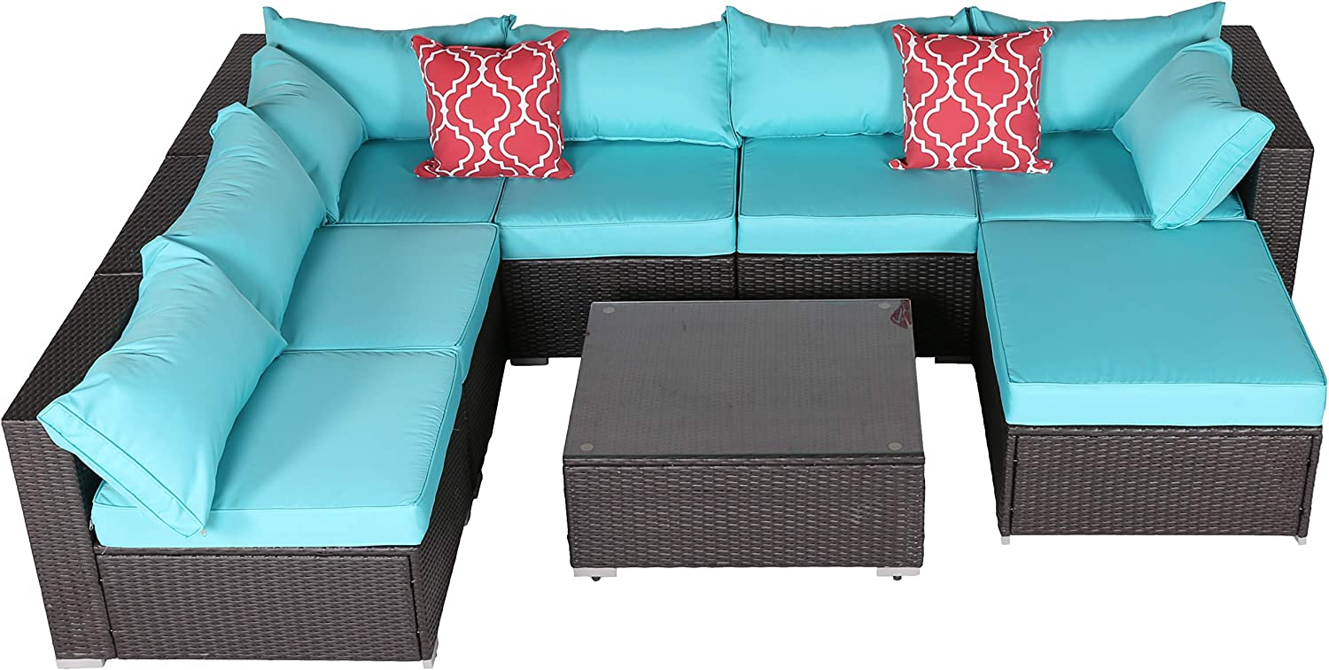 Do4U Patio Sofa 8-Piece Set Outdoor Furniture Sectional All-Weather Wicker Rattan Sofa Turquoise Seat Back Cushions, Garden Lawn Pool Backyard Outdoor Sofa Wicker Conversation Set 7555-Turquoise-8