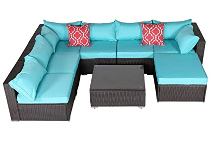 Do4U Patio Sofa 8-Piece Set Outdoor Furniture Sectional All-Weather Wicker Rattan Sofa Turquoise Seat & Back Cushions, Garden Lawn Pool Backyard ...
