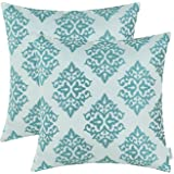 Pack of 2 CaliTime Throw Pillow Covers 18 X 18 Inches Both Sides, Vintage Damask Floral, Teal
